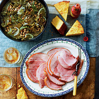 Good Luck Greens and Peas with Ham