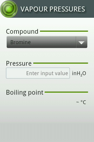 Vapour Pressures - screenshot