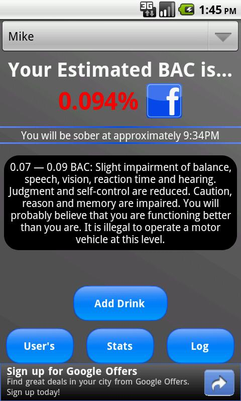 Bottoms Up! BAC Tracker - screenshot