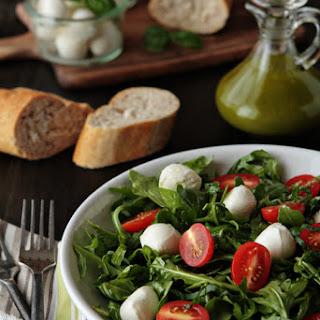 Tomato and Mozzarella Salad with Basil Vinaigrette.
