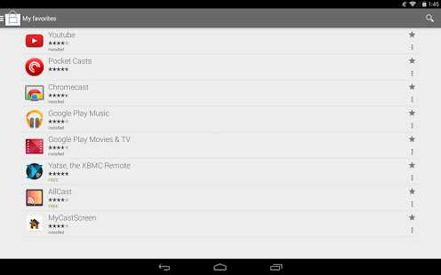 Details on android app list with content