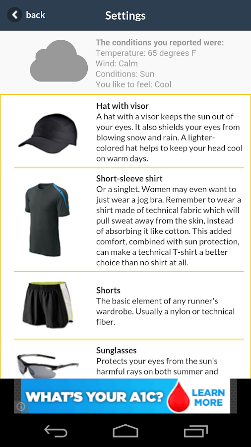 What Should I Wear Running - screenshot