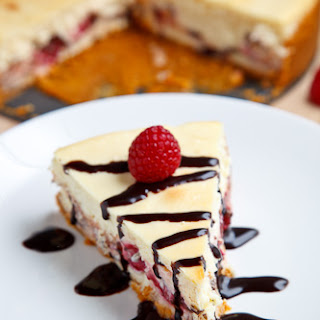 Raspberry and Dark Chocolate Cheesecake.