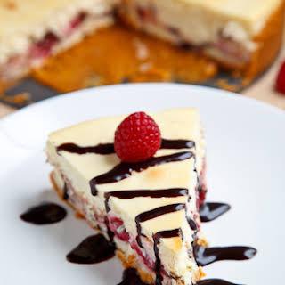 Raspberry and Dark Chocolate Cheesecake.