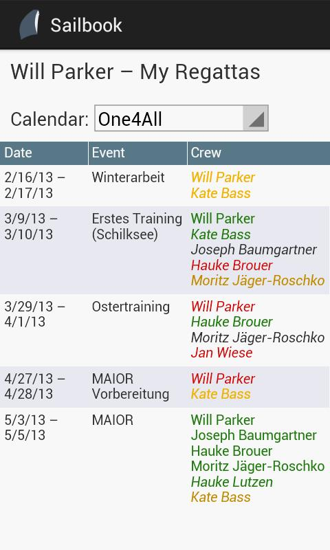 SAILBOOK Calendar - screenshot