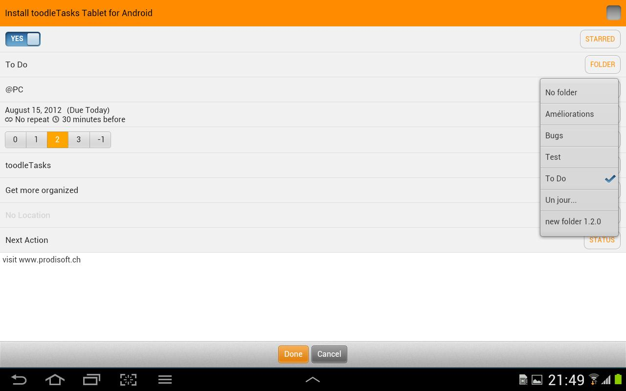 toodleTasks Tablet - Toodledo - screenshot