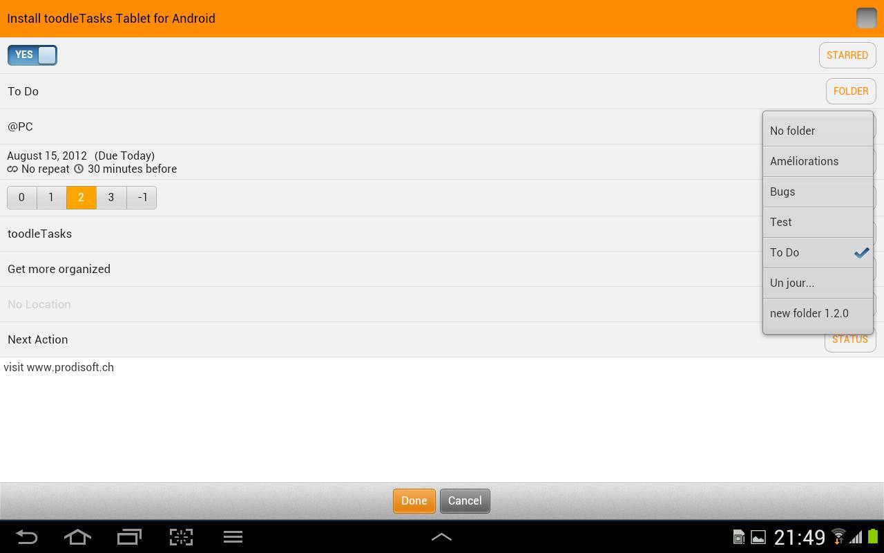 toodleTasks Tablet - Toodledo - screenshot