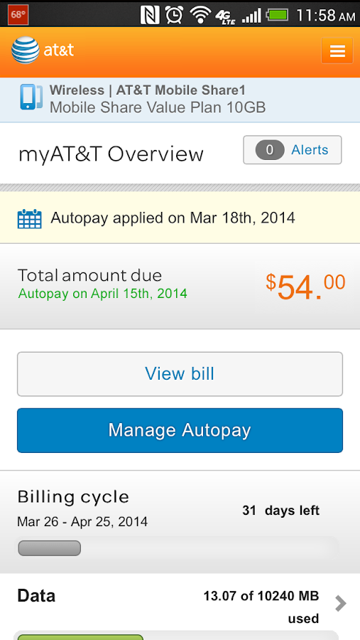 myAT&T - screenshot