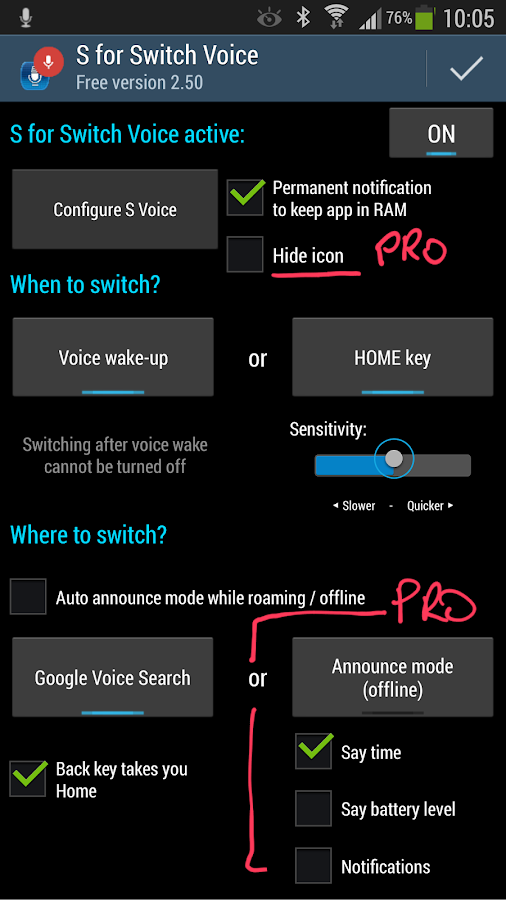 S for Switch Voice Free - screenshot