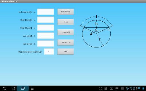 Chord Geometry Calculator  screenshots 1