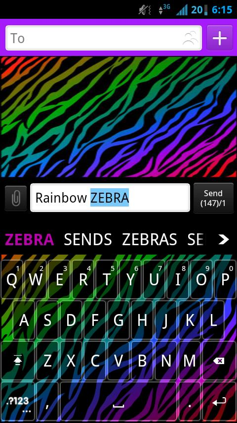 GO Keyboard Rainbow Zebra - screenshot