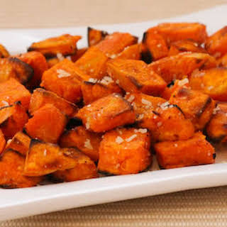 Roasted Sweet Potatoes Recipe with Double Truffle Flavor and Parmesan.