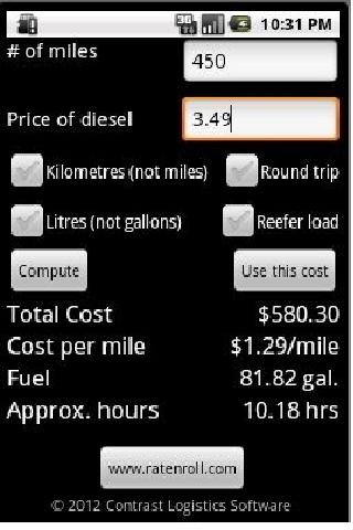 Cost-N-Roll truck cost app