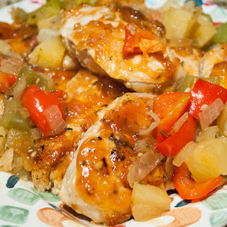 Hawaiian Chicken Breasts with Sweet Bell Peppers and Pineapple.