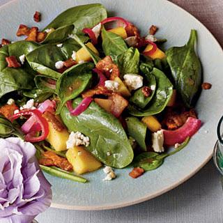 Mango-Spinach Salad with Warm Bacon Vinaigrette.