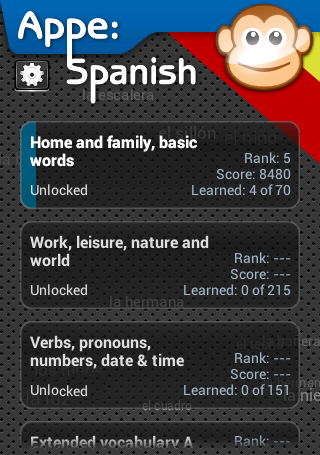 Appe: Spanish Learner game- screenshot