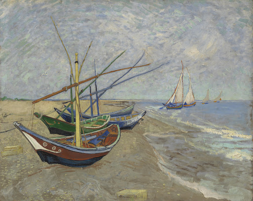 Image result for van gogh   Fishing Boats on the Beach at Les SaintesMaries-de-la-Mer (1888, Van Gogh Museum, Amsterdam/Vincent van Gogh Foundation)