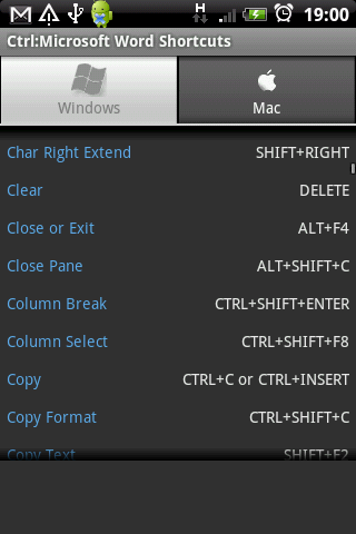 Ctrl: Microsoft Word Shortcuts - screenshot