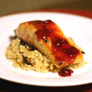Salmon with Cherry Sauce and Israeli Couscous.
