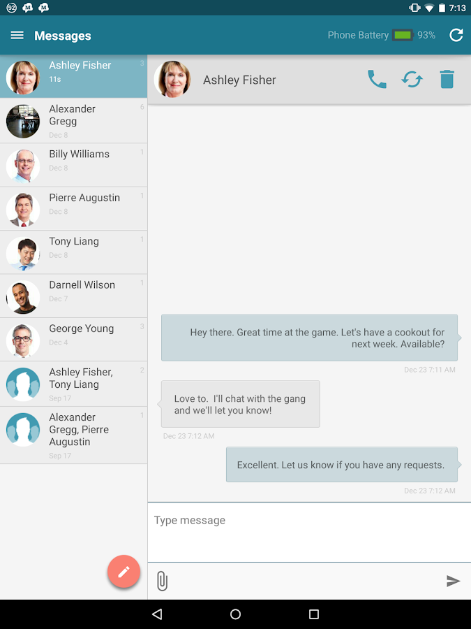 SMS Text Messaging from Tablet- screenshot