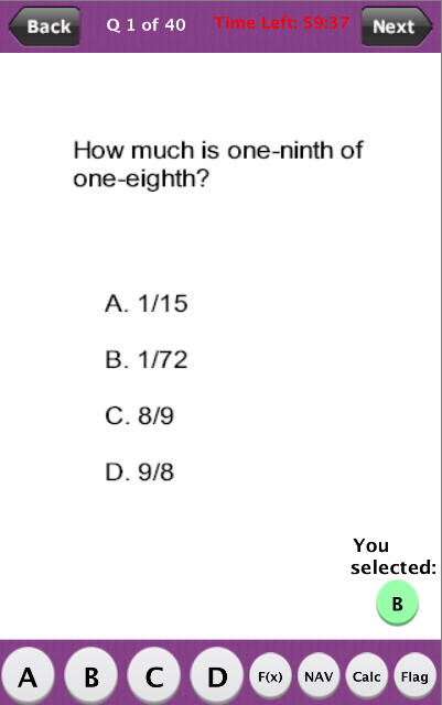 PAPA Math Practice Test- screenshot