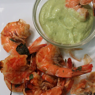 """""""Cocktail"""" Shrimp with Spicy Mint-Avocado Dipping Sauce."""