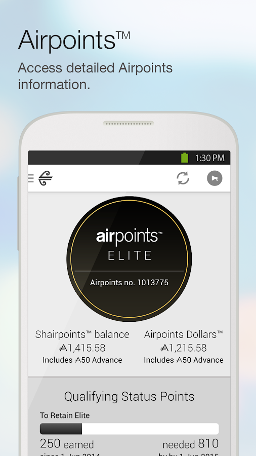 Air NZ mobile app - screenshot