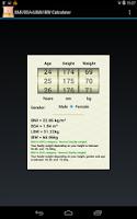 Screenshot of BMI/BSA/LBW/IBW-Healthy Weight