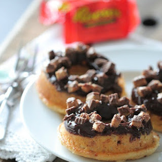 Reeses Peanut Butter Cup Baked Buttermilk Donuts.