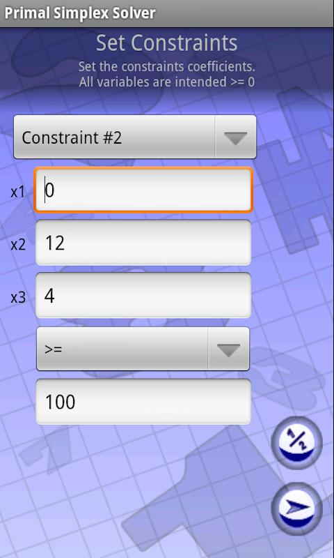 Primal Simplex Solver- screenshot