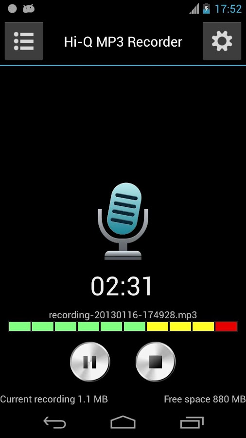 Hi-Q MP3 Voice Recorder (Free) - screenshot