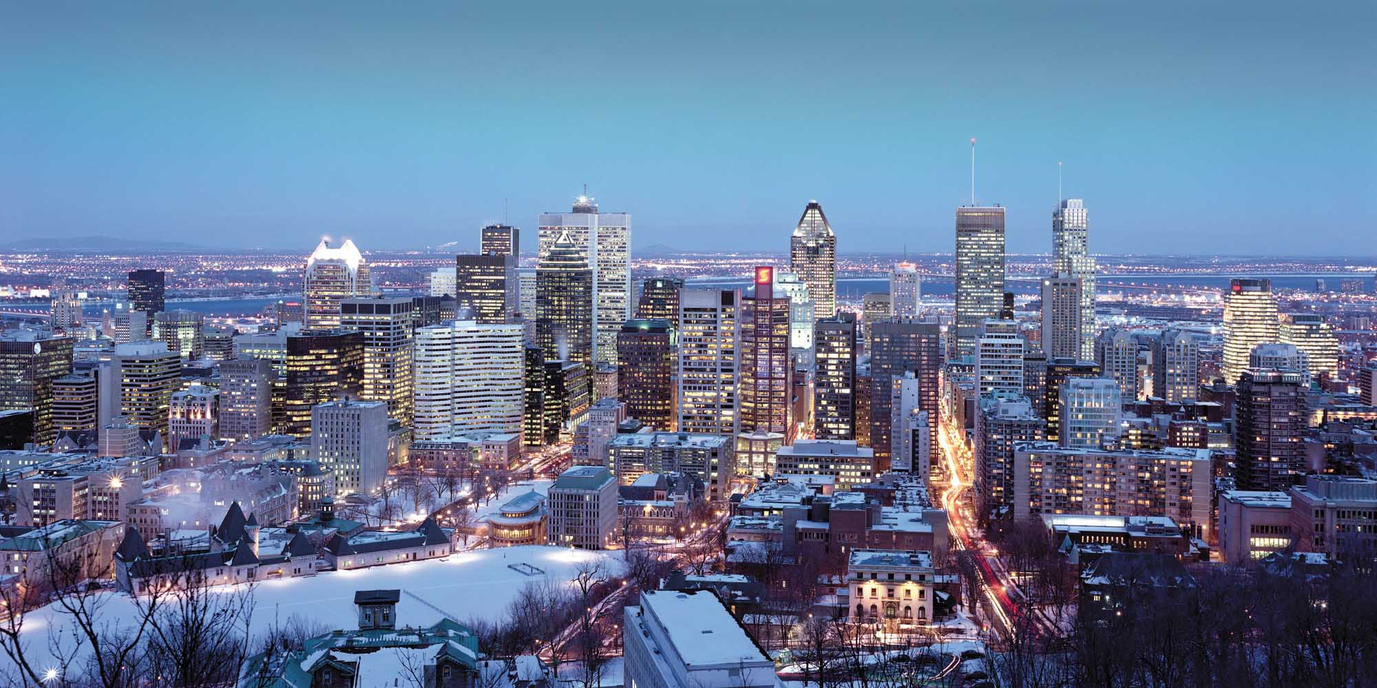 The Quebec City cityscape in winter.
