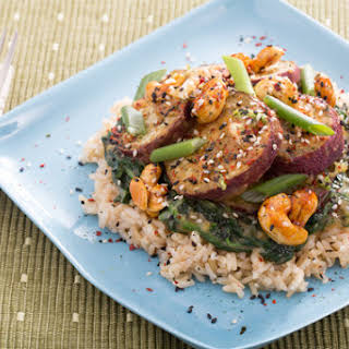 Roasted Japanese Sweet Potatoes with Miso-Dressed Spinach & Candied Cashews.
