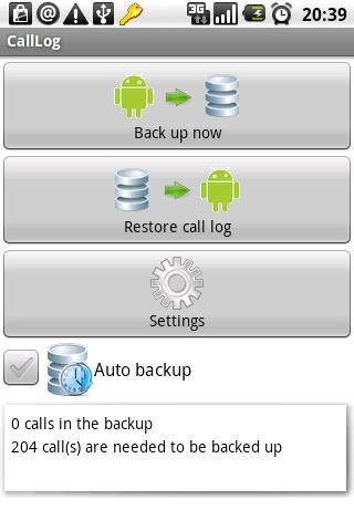 CallLog backup - screenshot