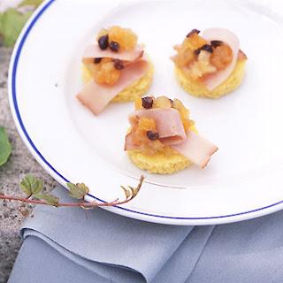 Virginia Ham and Melon Apple Chutney on Corn Bread Rounds