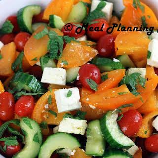 Israeli Salad with Mint and Feta.