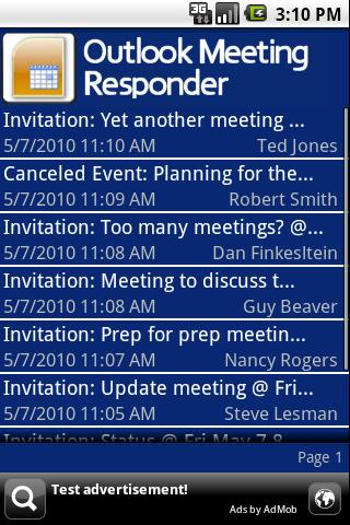 Outlook Meeting Responder - screenshot