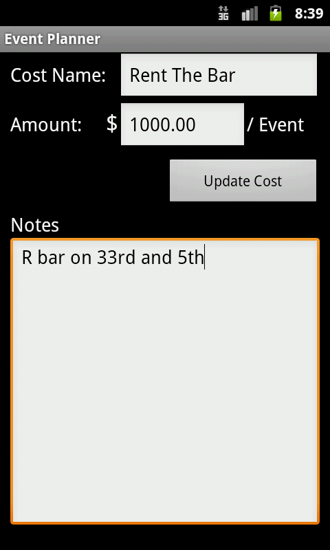 Event Cost Planner - screenshot