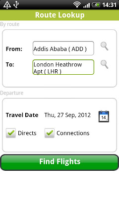 Ethiopian Flights Timetable - screenshot