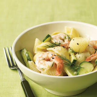 Shrimp Pasta Salad with Cucumber and Dill.