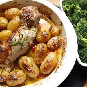 Baked Pork Loin Seasoned with Mustard And Rosemary