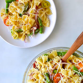 Asparagus Pasta Salad with Italian Dressing.