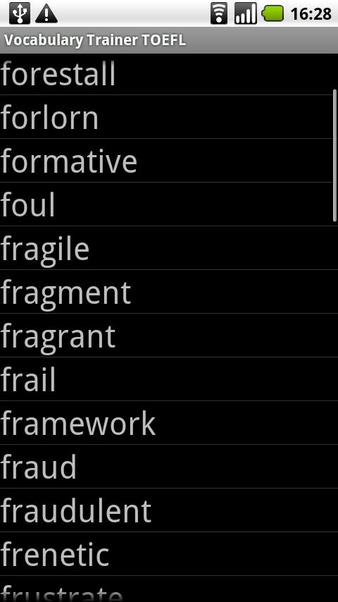 Vocabulary Trainer TOEFL - screenshot
