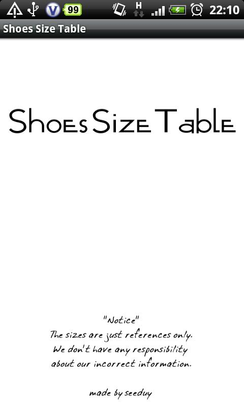 Shoes Size Table - screenshot