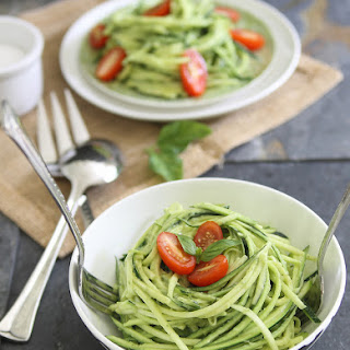 Zucchini Pasta With Avocado Cream Sauce.