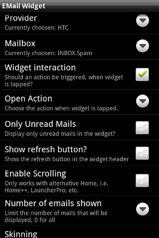 Email Widget- screenshot