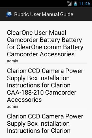 User Manual Guide List