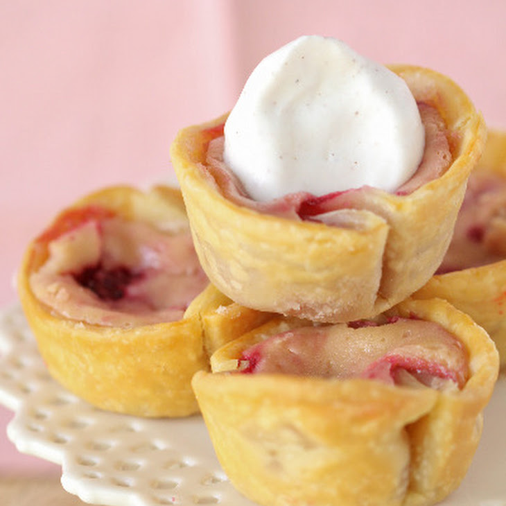 Red and Golden Raspberry Lemon Baby Cheesecake Pies Recipe