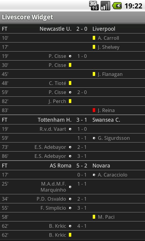 Football Livescore Widget- screenshot