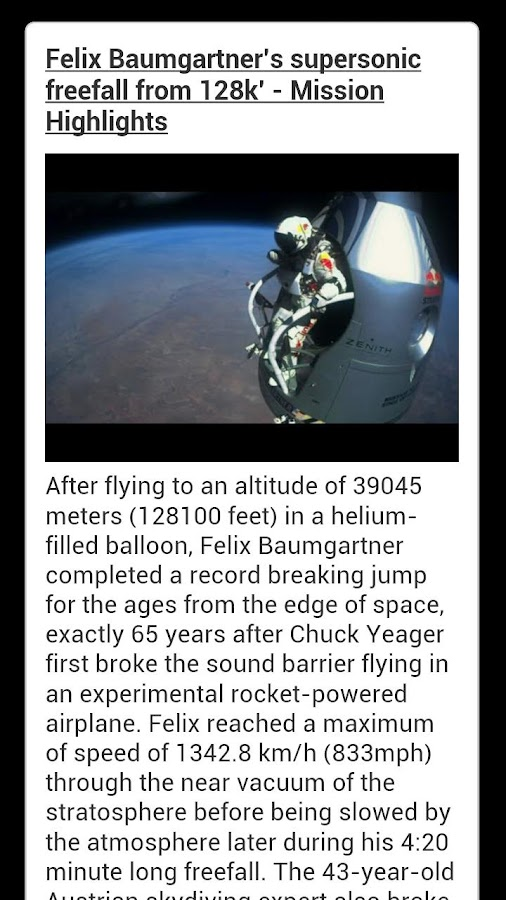 Felix Baumgartner Freefall - screenshot